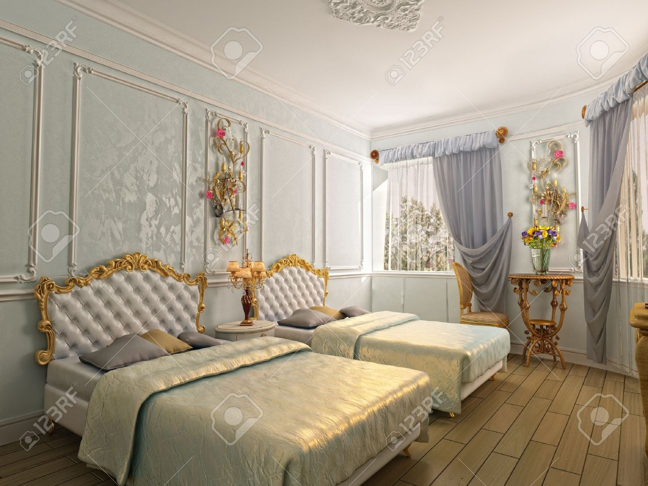 two-bed luxury room (3D rendering) Stock Photo - 8900977