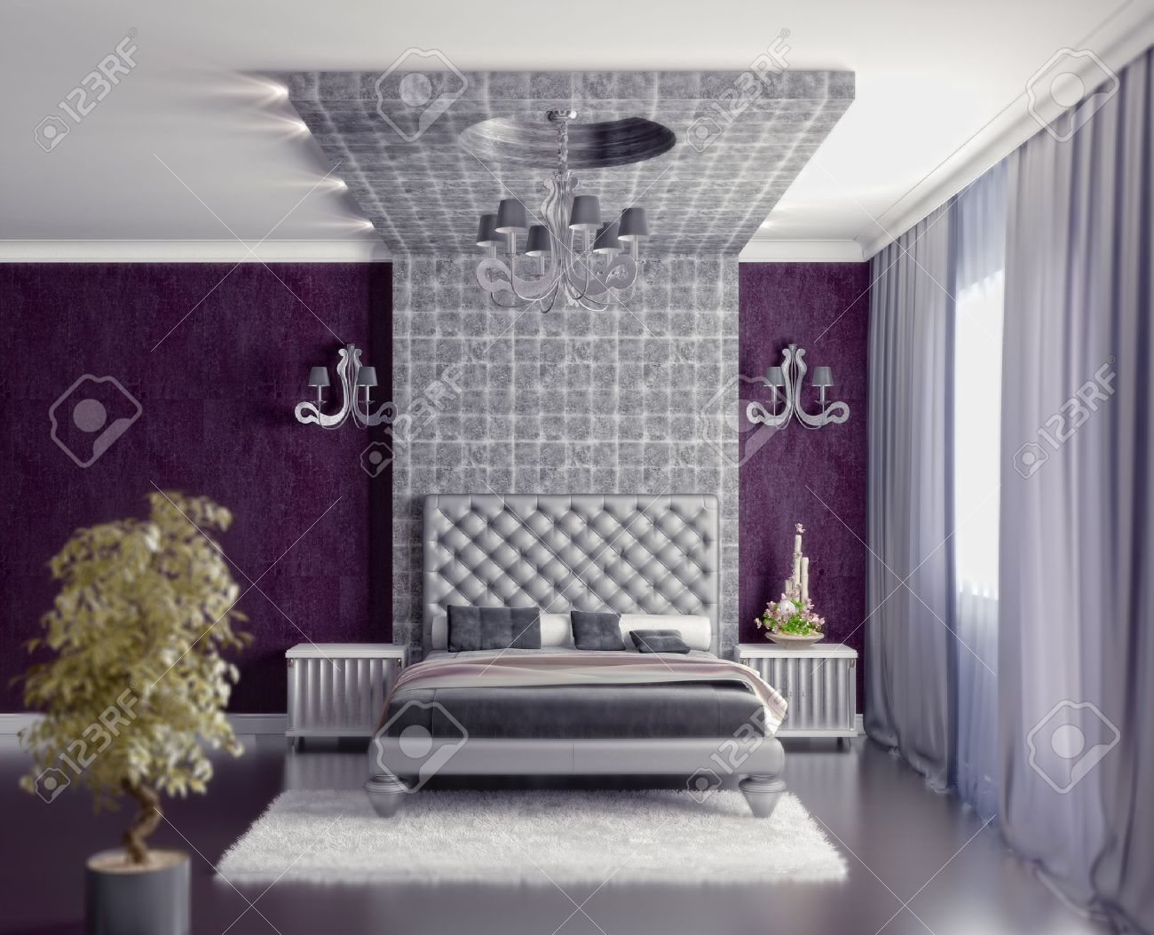 Moderne Stijl Slaapkamer Interieur 3d Renderen (DOF Efffect ...
