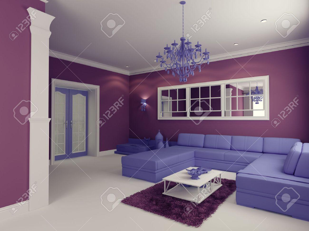 cartoon-style modern living room interior (computer generated image) Stock Photo - 9863006
