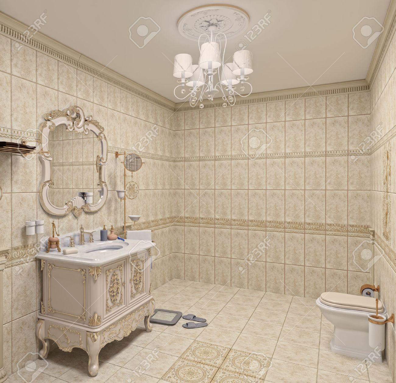 Interior Moderno Cuarto De Baño Con Azulejos Y Espejos (3D) Fotos ...