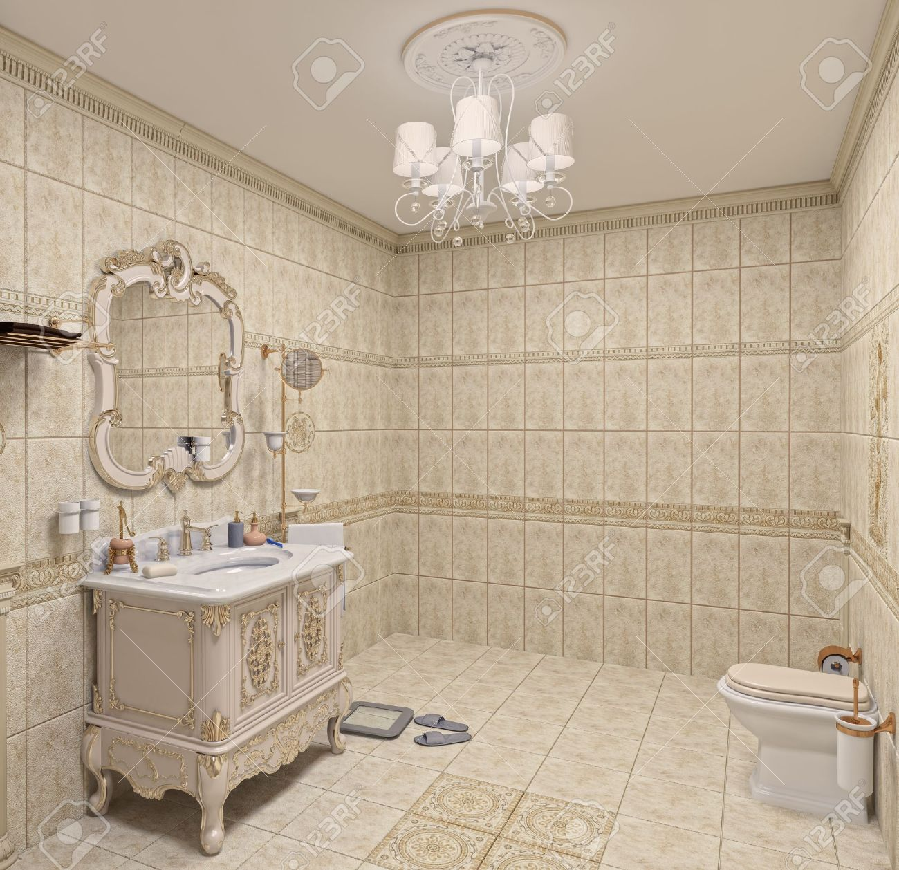 Modern Bathroom Interior With Tiles And Mirror (3D Rendering) Stock ...