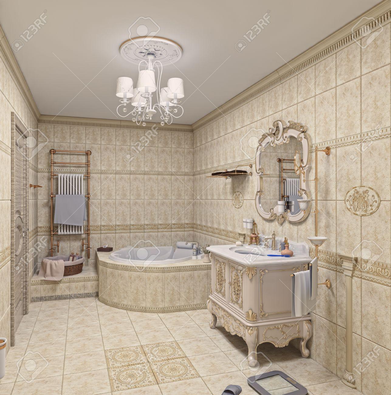 moderne badezimmer interieur mit fliesen und spiegel (3d-rendering, Badezimmer ideen