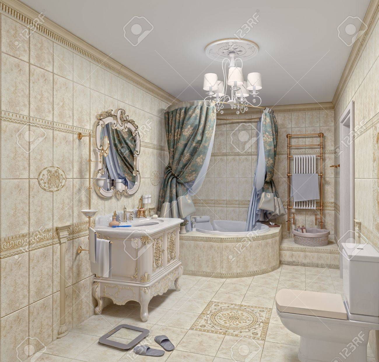 Interior moderno cuarto de baño con azulejos y espejos (3D)