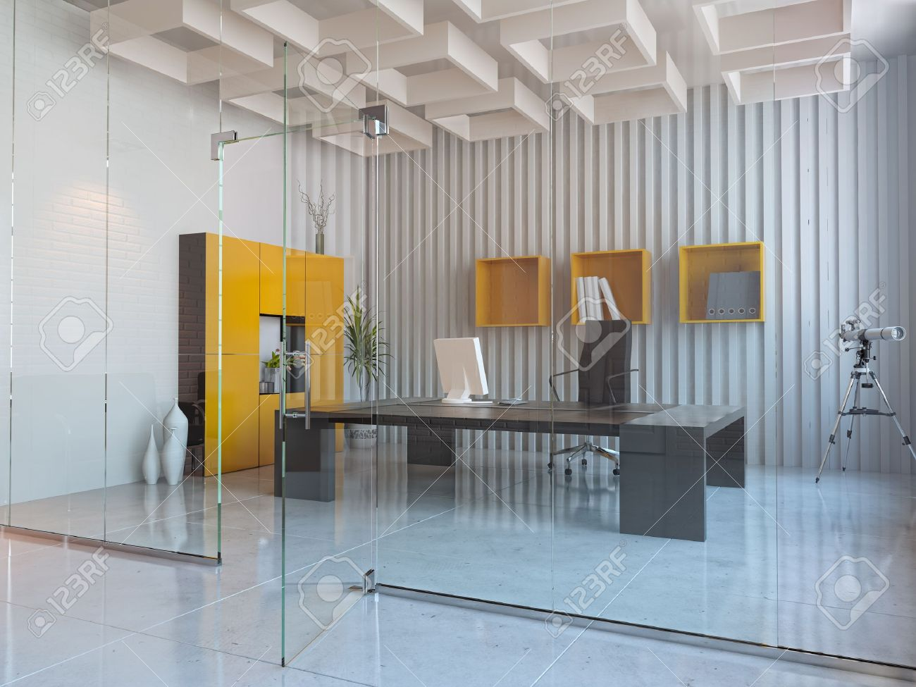 modern interior design of office room (3D render) Stock Photo - 12025346