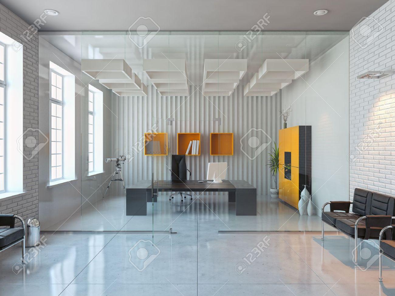 Moderne Innenarchitektur Von Büroraum (3D Render) Lizenzfreie Fotos ...