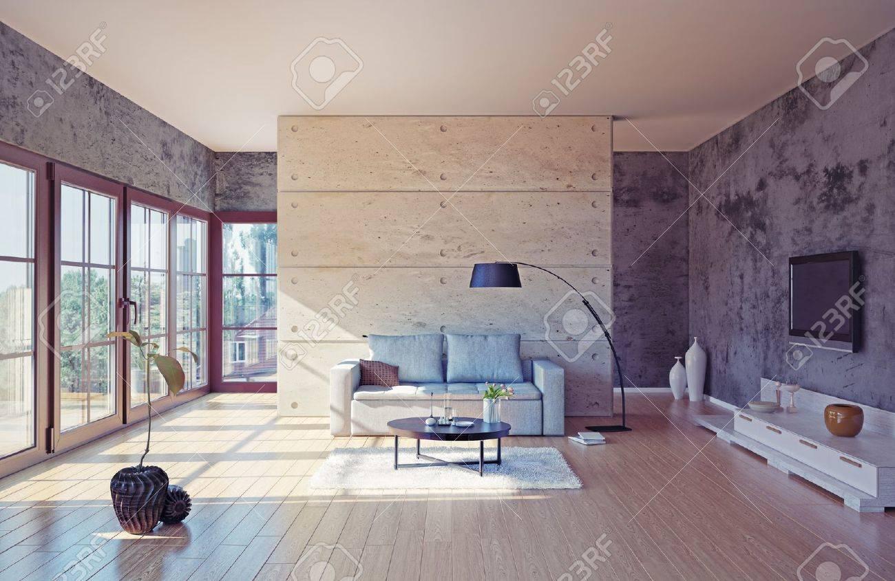 Schone Moderne Wohnzimmer Innenraum Illustration Lizenzfreie Fotos
