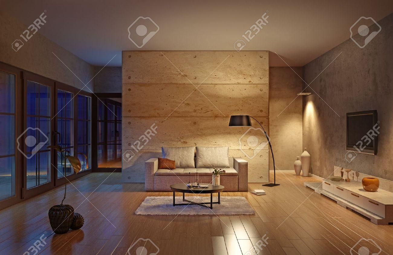 Vackert Modernt Vardagsrum Inredning (bild) Royalty-Fria ...