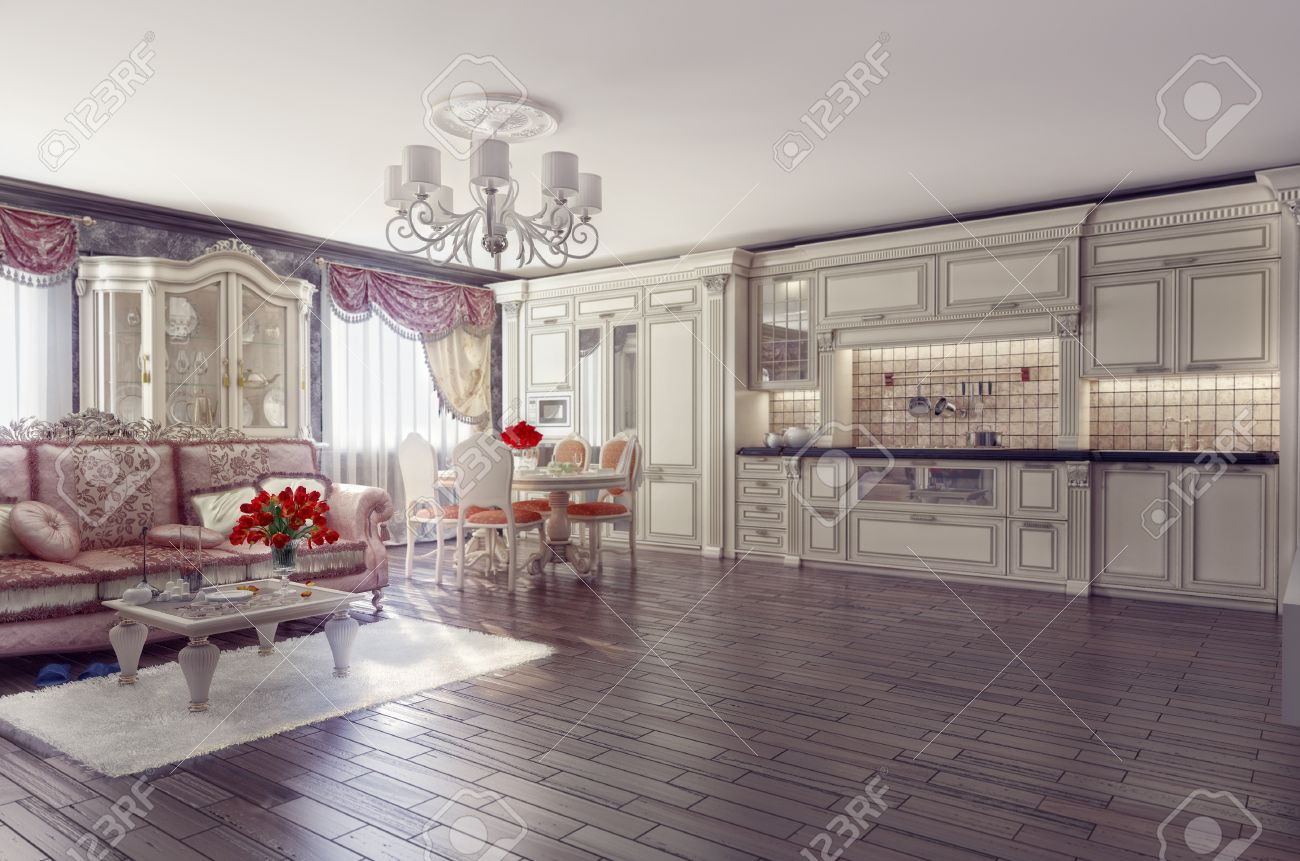 Classic Luxury Kitchen luxury kitchen interior in classic style (3d rendering) stock