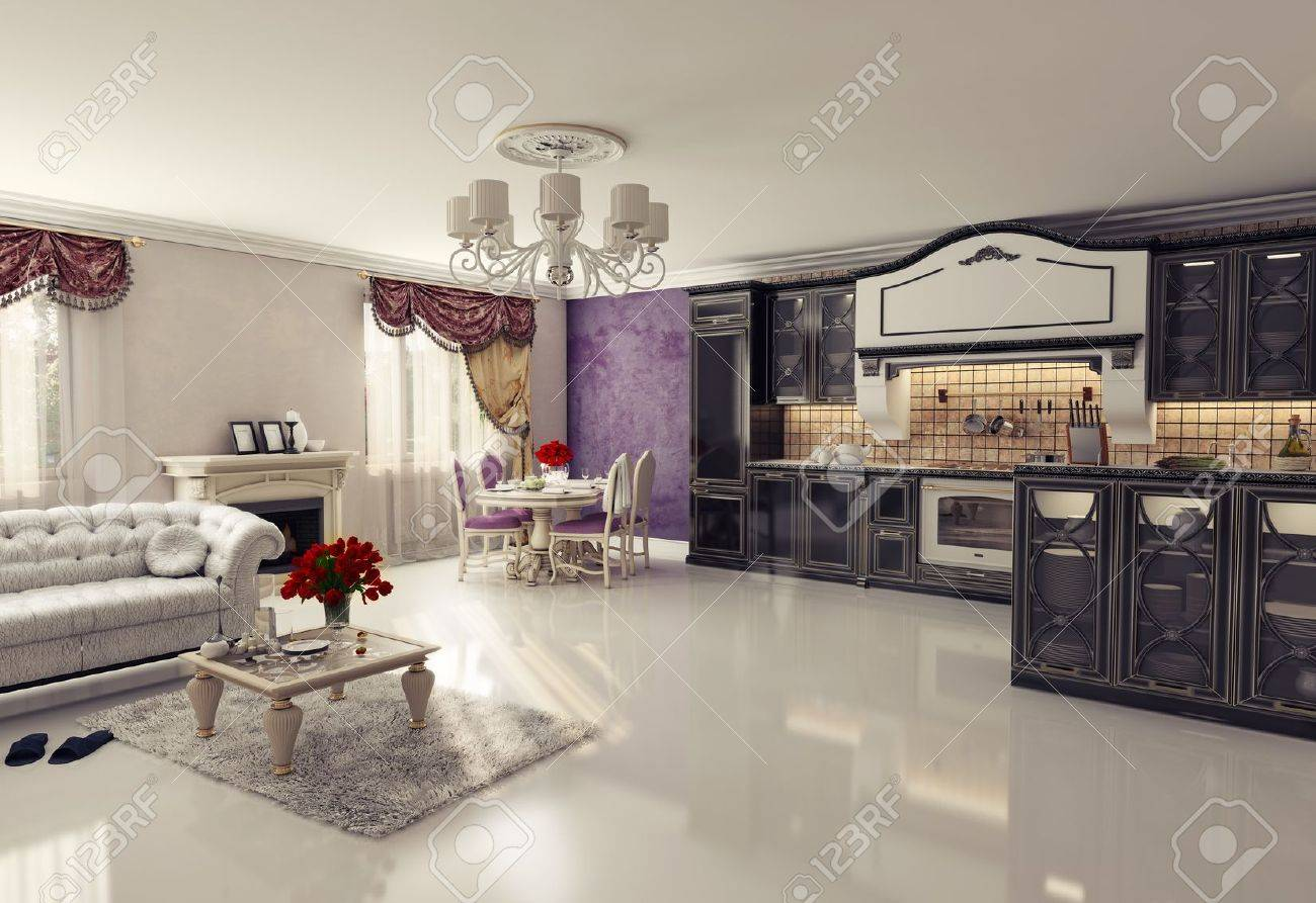luxury kitchen interior in classic style  3D rendering Stock Photo - 12803563