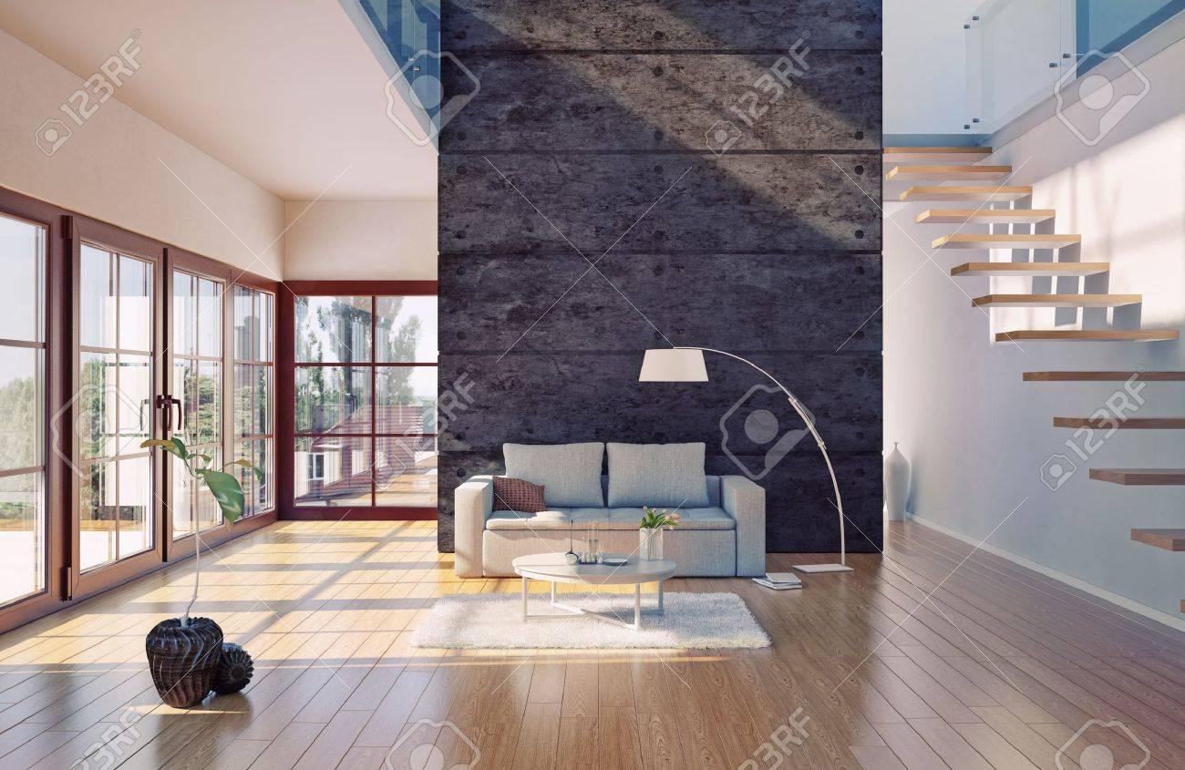 schöne moderne wohnzimmer innenraum cg illustration lizenzfreie ... - Schone Moderne Wohnzimmer
