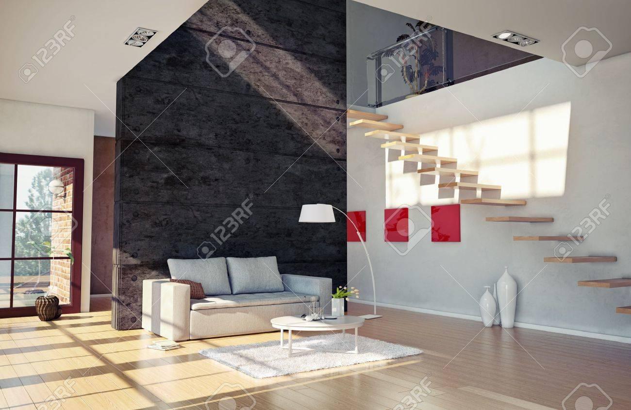 Belle Chambre Moderne Salon Intérieur Cg Illustration Banque D ...