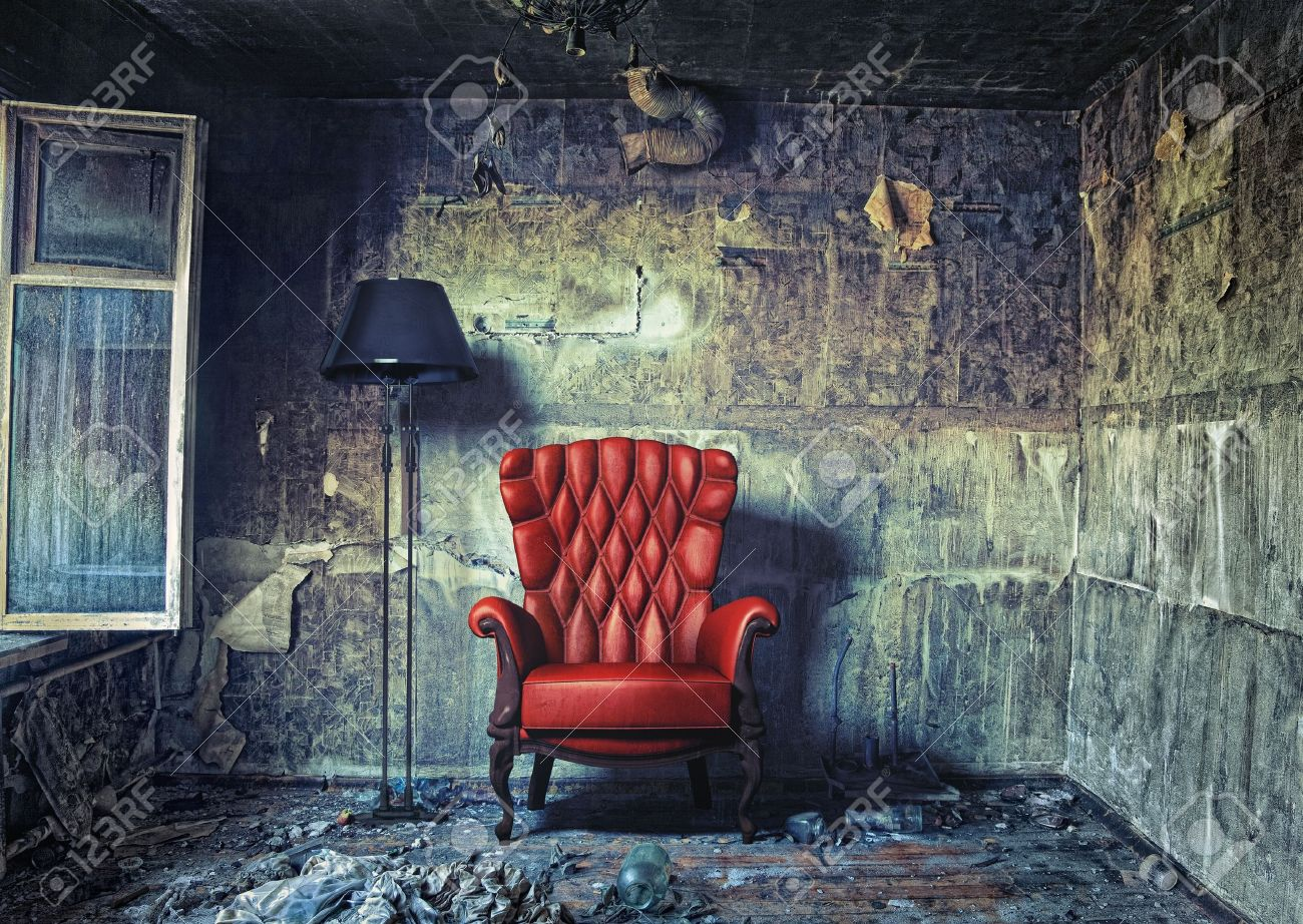 luxury armchair in grunge interior Photo compilation Photo and hand-drawing elements combined - 12803586
