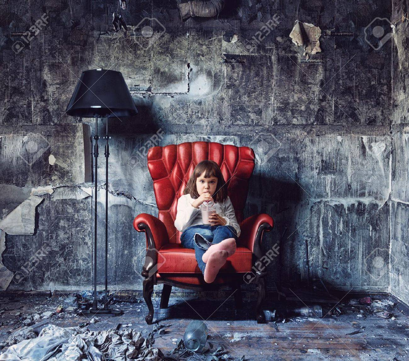 little girl sitting in grunge interior Photo and hand-drawing elements combined - 14094911