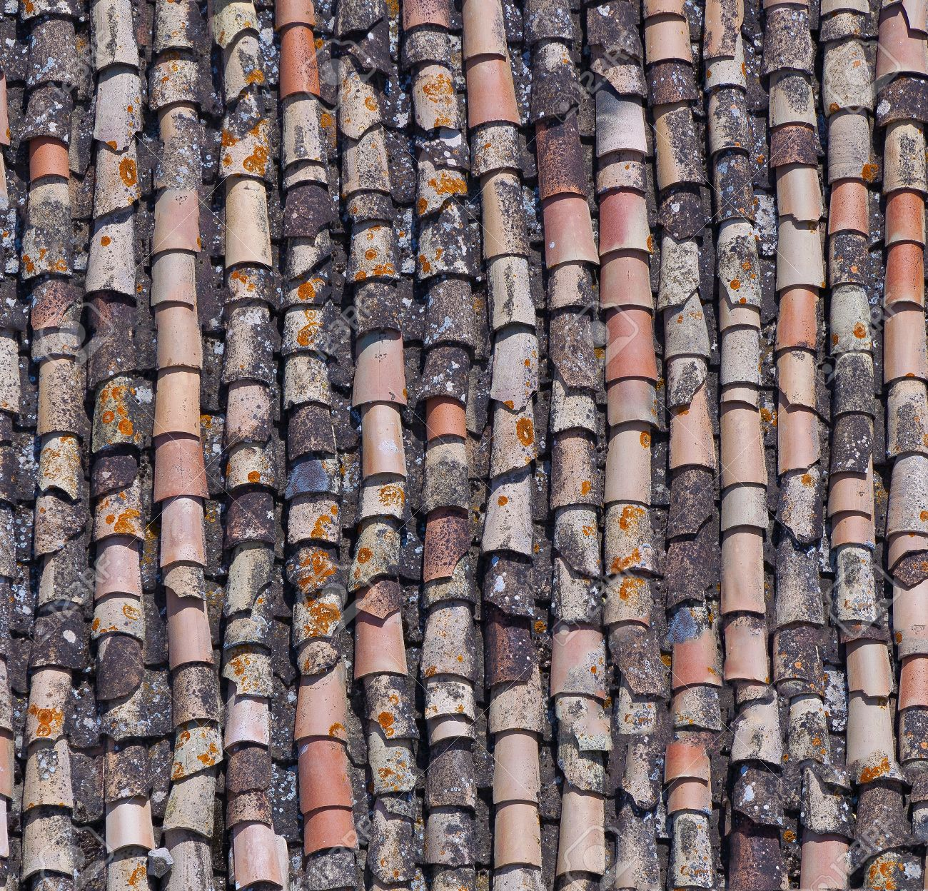 clay roof: old roof tile close-up texture