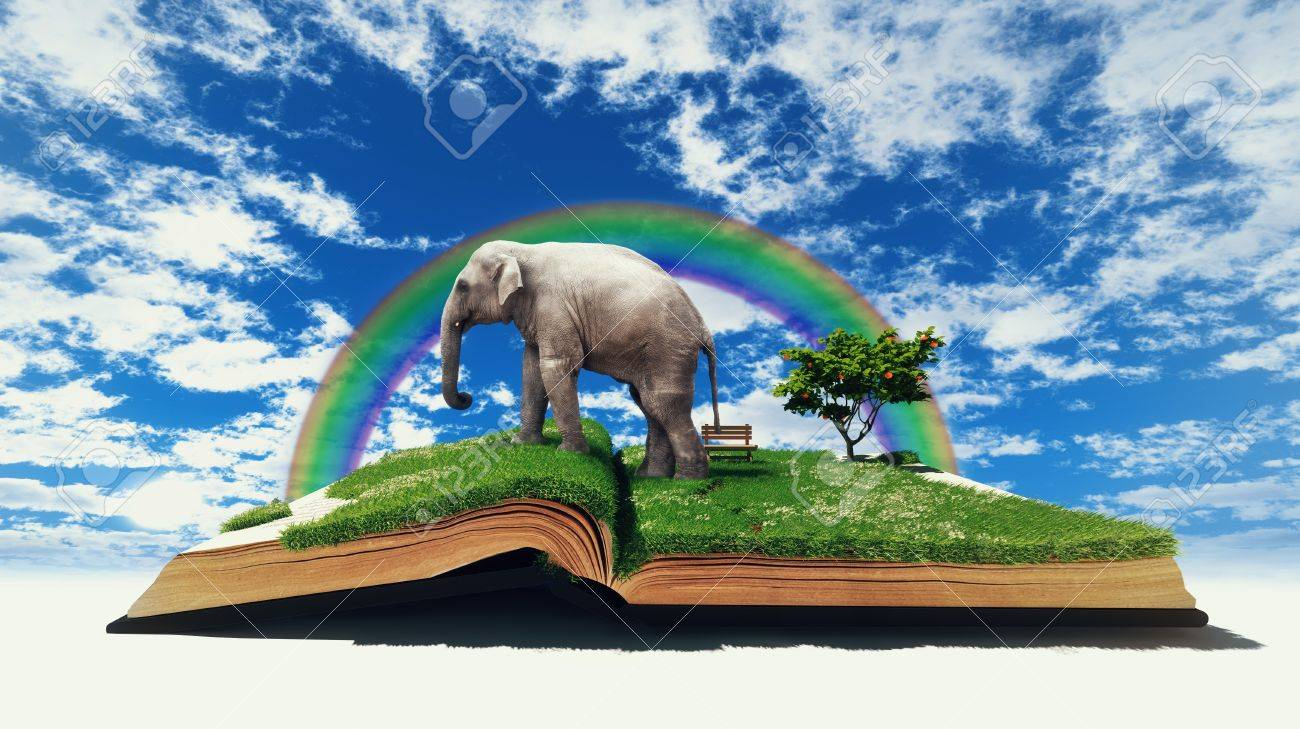 open book with elephant on the grass  illustration  concept Stock Photo - 15702903
