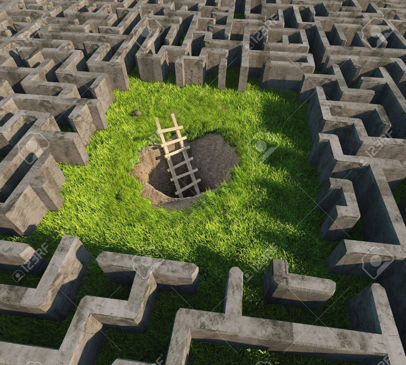 tricky to get out of the maze. 3D concept Stock Photo - 15890087