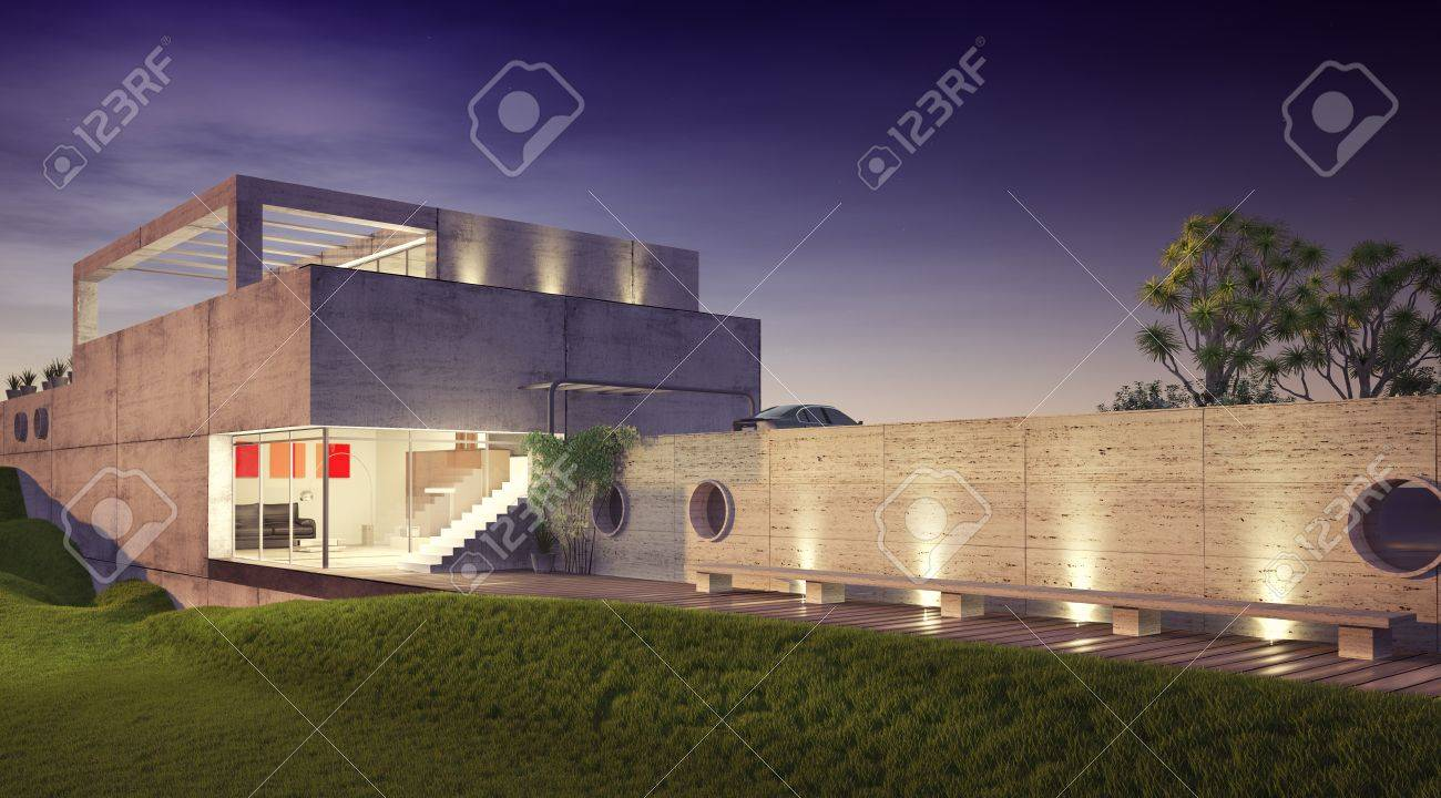 modern house architecture concept  3D rendering Stock Photo - 16432553