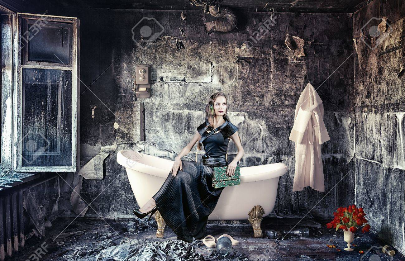 vintage woman and bathtub in grunge interior  photo compilation Stock Photo - 16374722