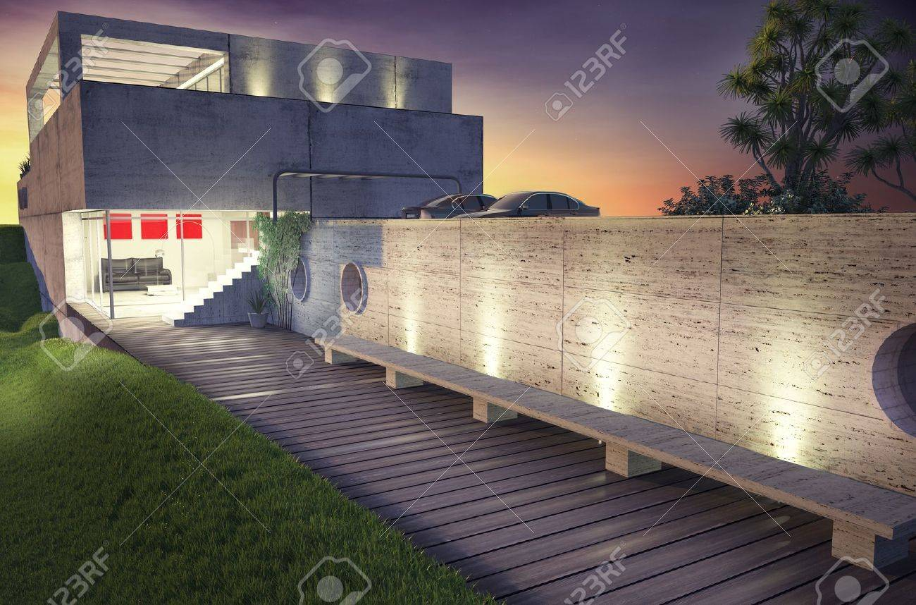 modern house architecture concept  3D rendering Stock Photo - 16432555