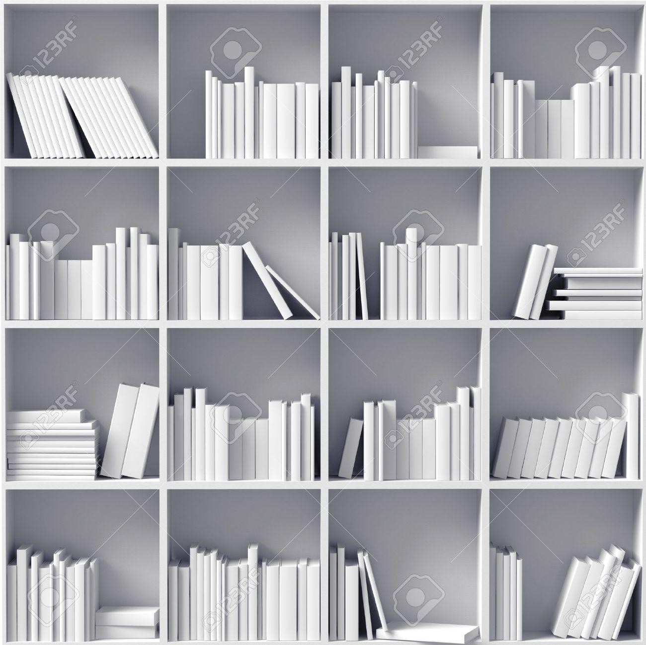 Realistic 3d illustration of modern wooden bookshelf against ston - 3d Bookshelf White Bookshelves Illustrated Concept