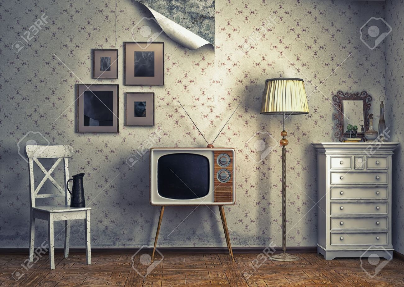 obsolete retro interior photo and cg elements combinated Stock Photo -  17693611