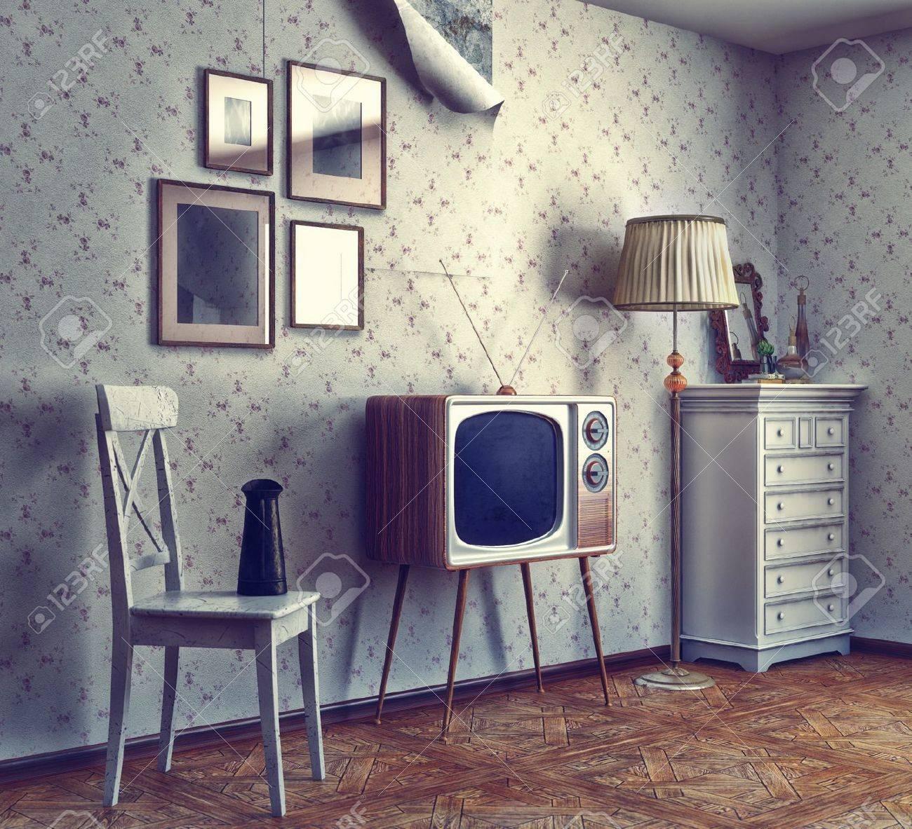 Obsolete Retro-Interieur Foto-und CG-Elemente Kombiniert, Textur Und ...