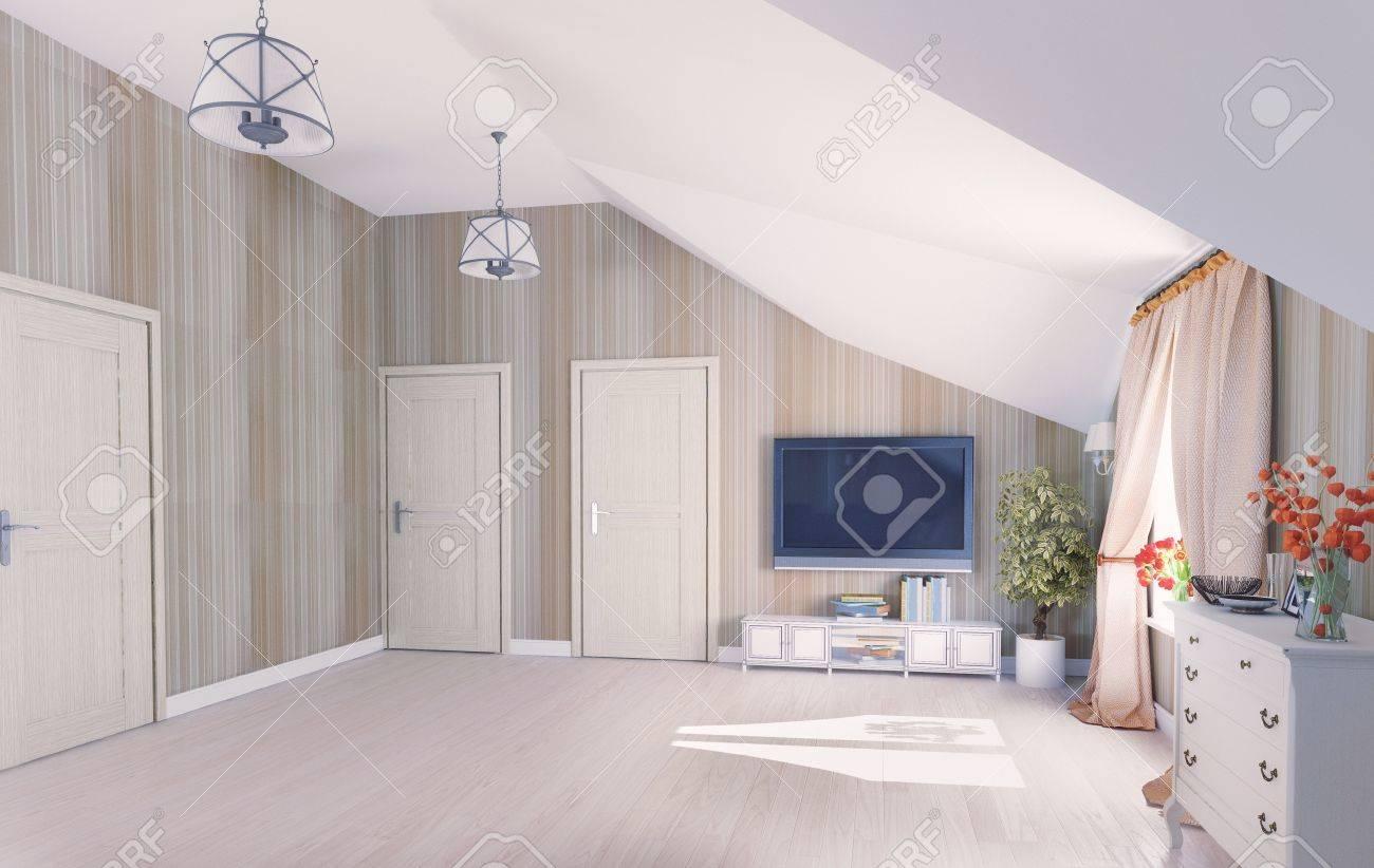 Interior hall attic  3D rendering Stock Photo - 19526612
