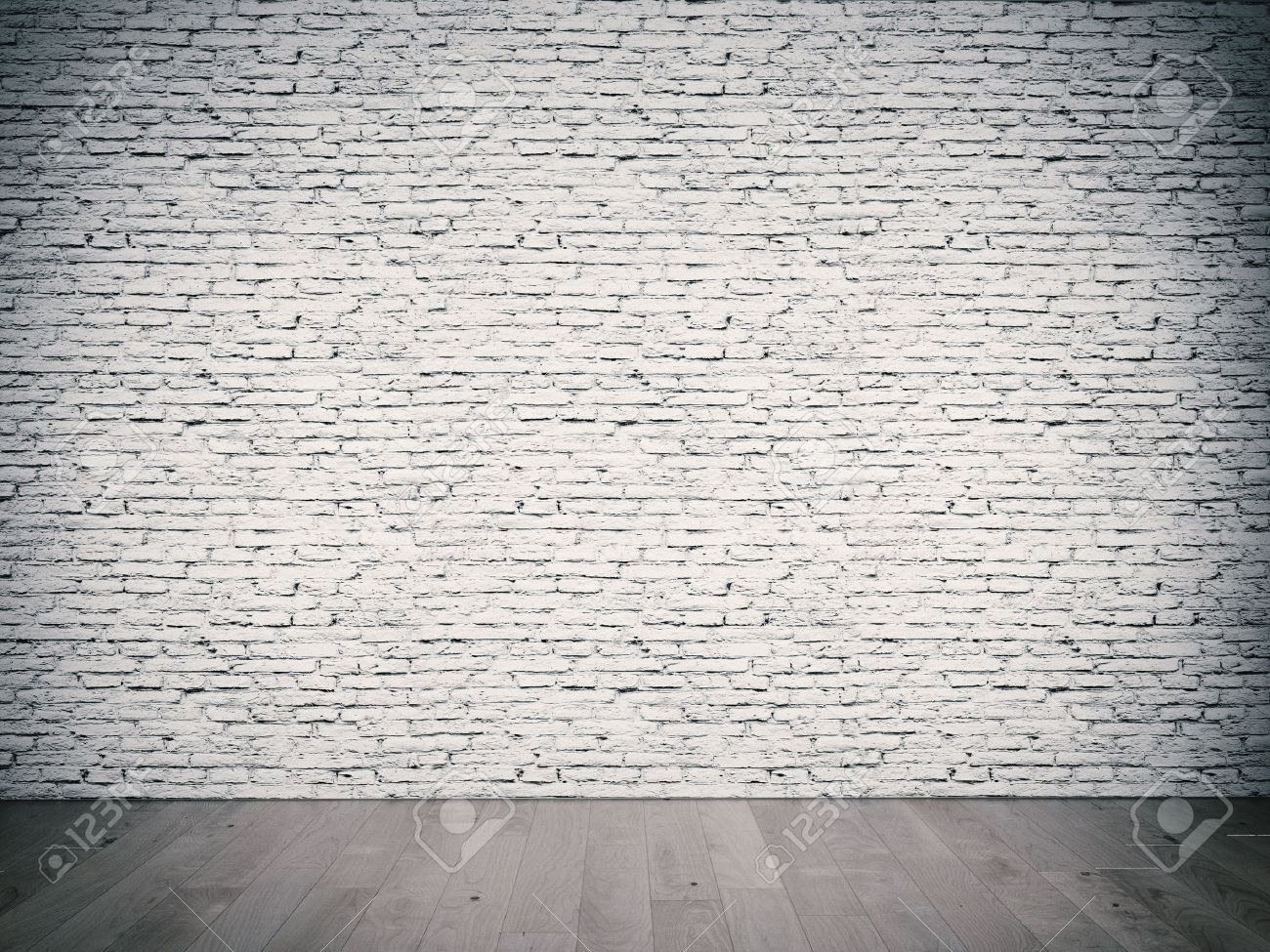 interior room with white brick wall and wooden floor Stock Photo - 19526675