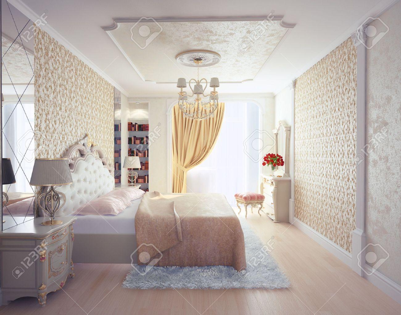 Chambre à Coucher Moderne Intérieur De Rendu 3D De Luxe Banque D ...