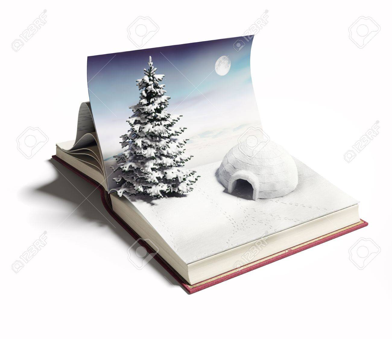 Igloo On The Open Book 3d Concept Stock Photo, Picture And Royalty ...