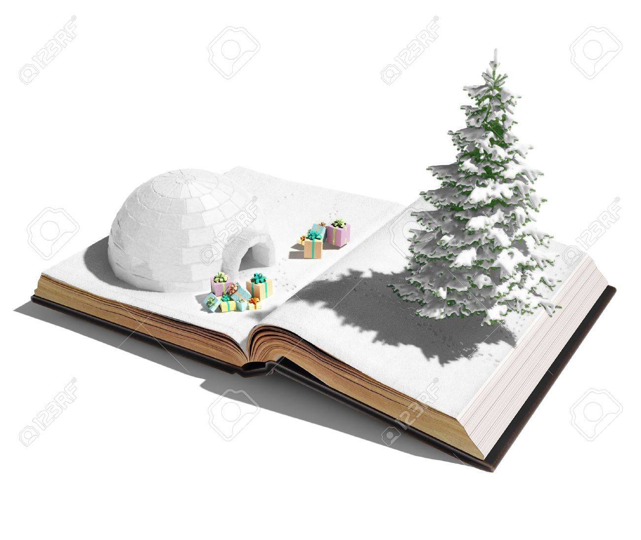 Igloo With Christmas Gifts On The Open Book 3d Concept Stock Photo ...