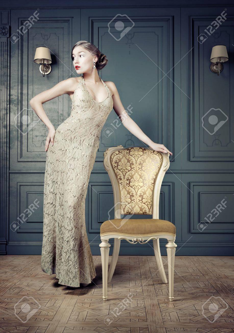 Beautiful woman retro portrait in vintage interior Stock Photo - 21750834
