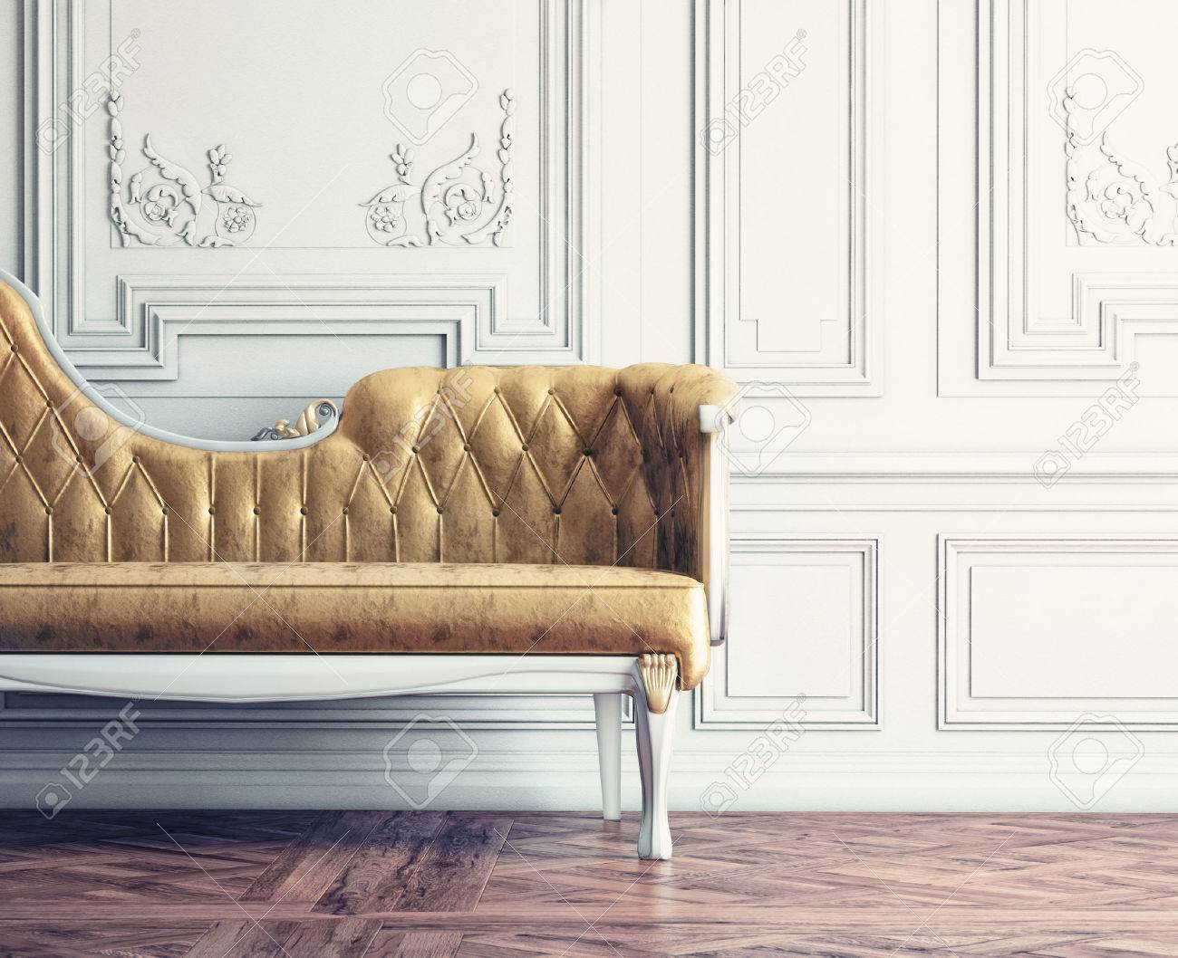 Beautiful Vintage Sofa Next To Wall Retro Style Illustration Stock