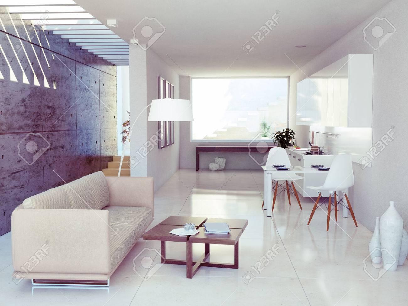 moderne innenarchitektur (wohnung 3d-rendering) lizenzfreie fotos, Innenarchitektur ideen