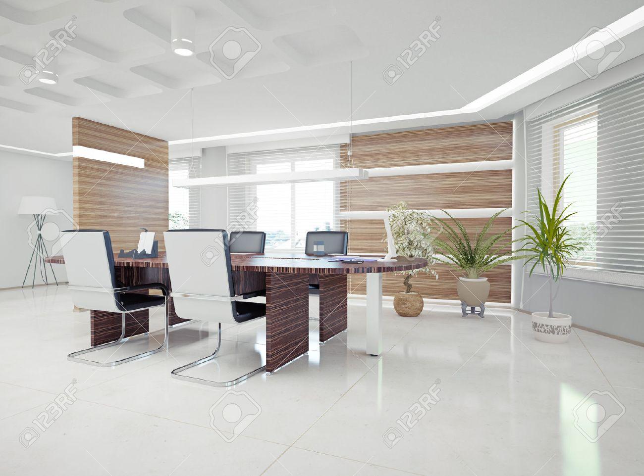 bureau moderne concept de design d'intérieur banque d'images et