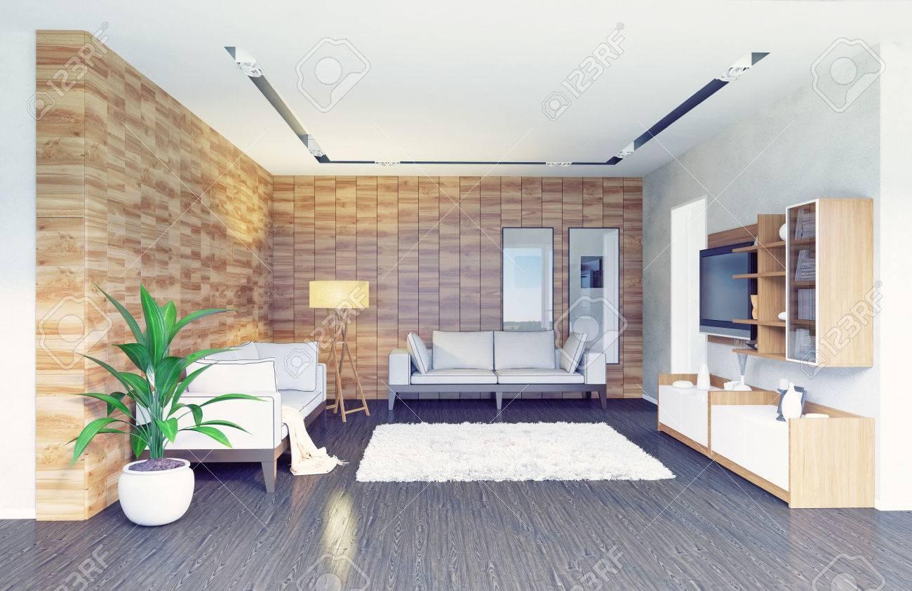 Salon Moderne Design D\'intérieur (concept 3d) Banque D\'Images Et ...