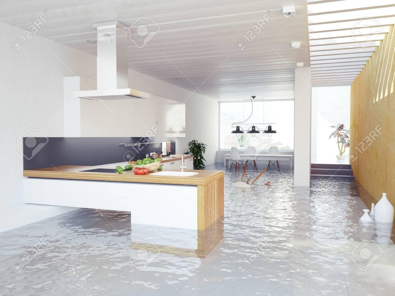 Berschwemmungen Moderne Küche Interieur (3D-Konzept) Lizenzfreie ...