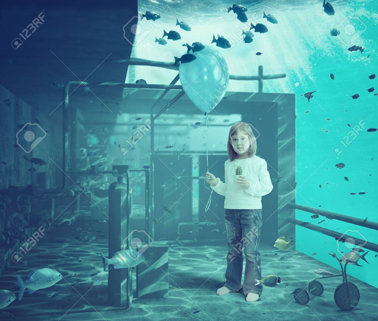 Little girl with ball underwater. CG and photo elements compilation Stock Photo - 27366879