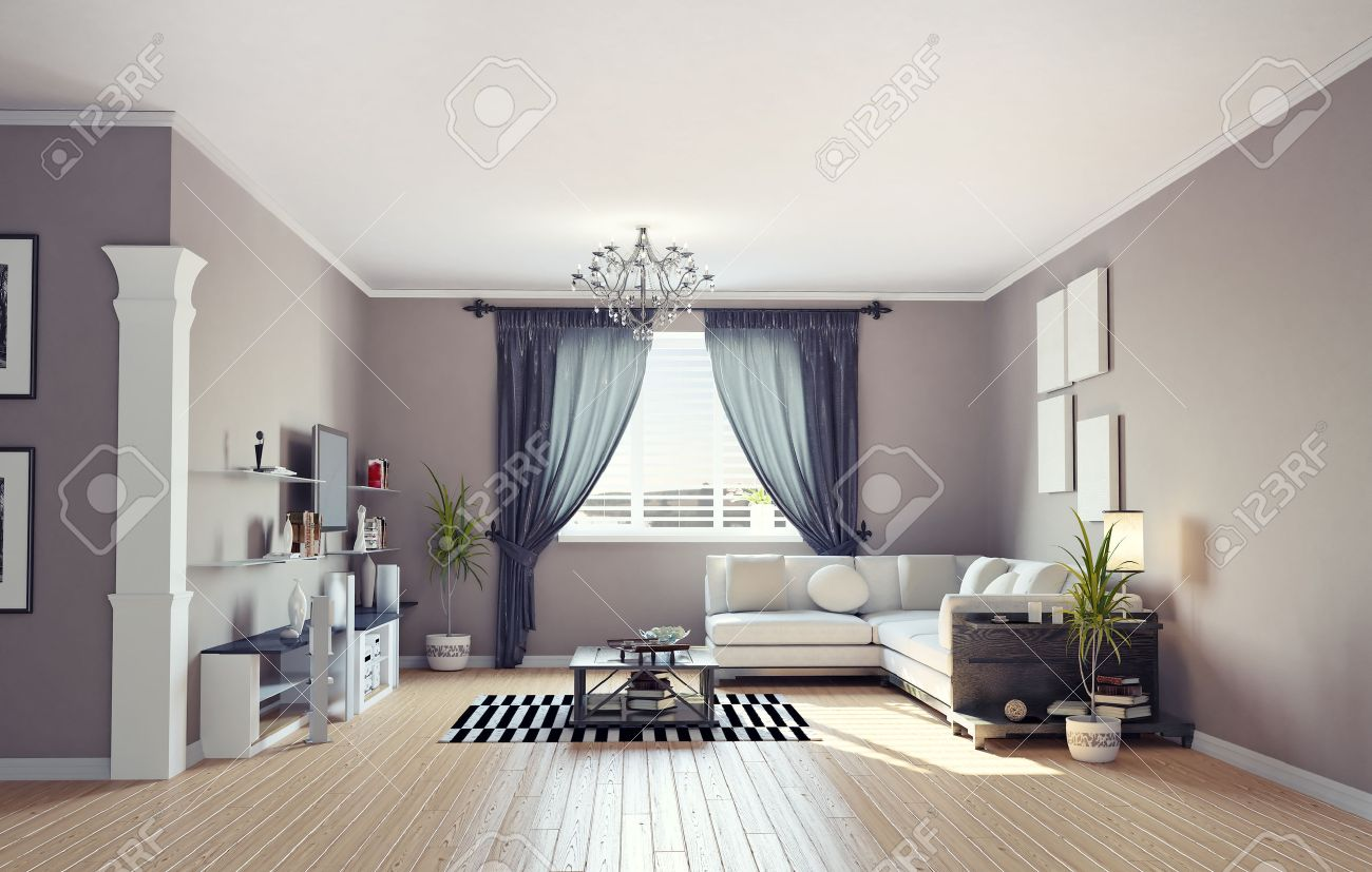 Moderne Innenarchitektur (private Wohnung 3D-Rendering ...