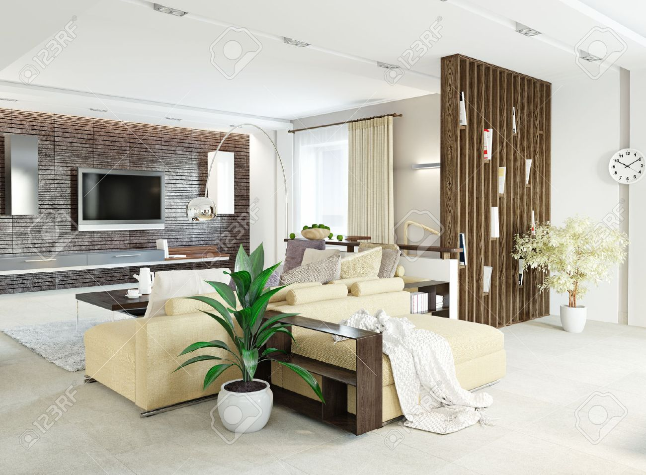 Modern Living Room Interior Design (3d Concept) Stock Photo, Picture ...