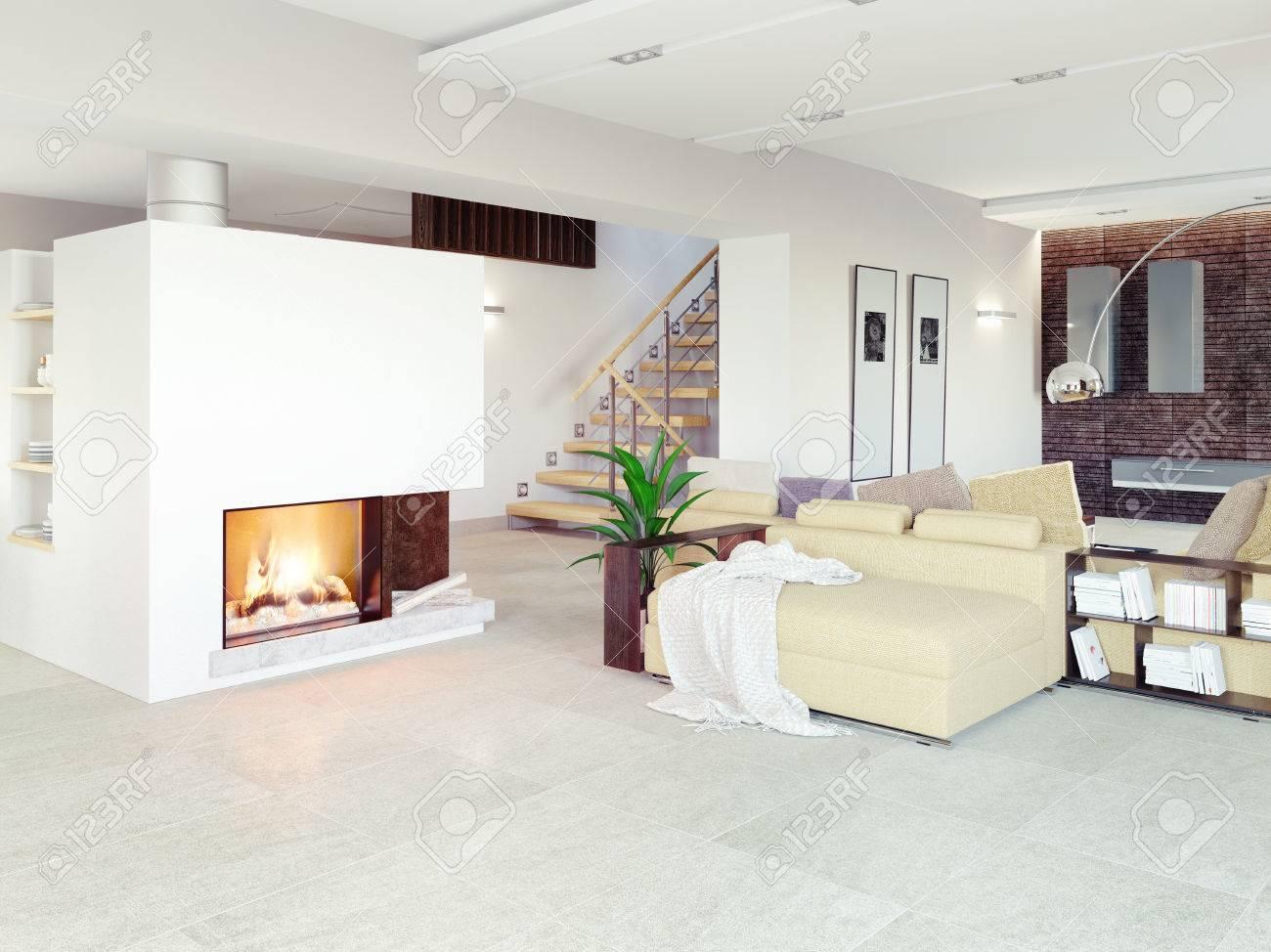 Modern Living Room Interior CG Concept Stock Photo