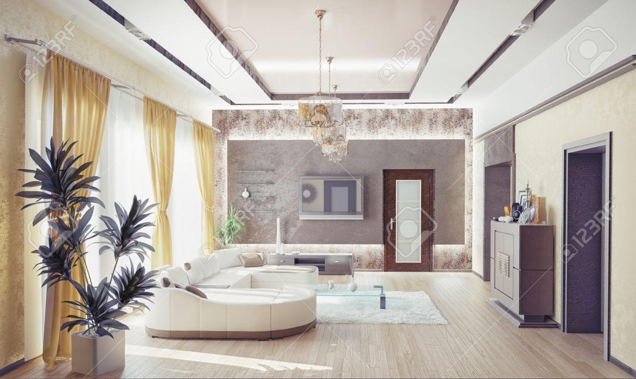 Salon moderne design d'intérieur .3d notion banque d'images et ...