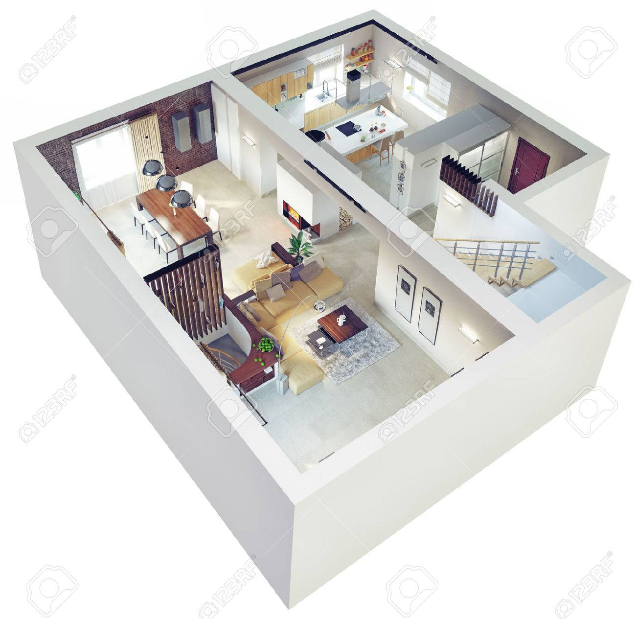 Plan View Of An ApartmentGround Floor Clear 3d Interior Design Stock Photo