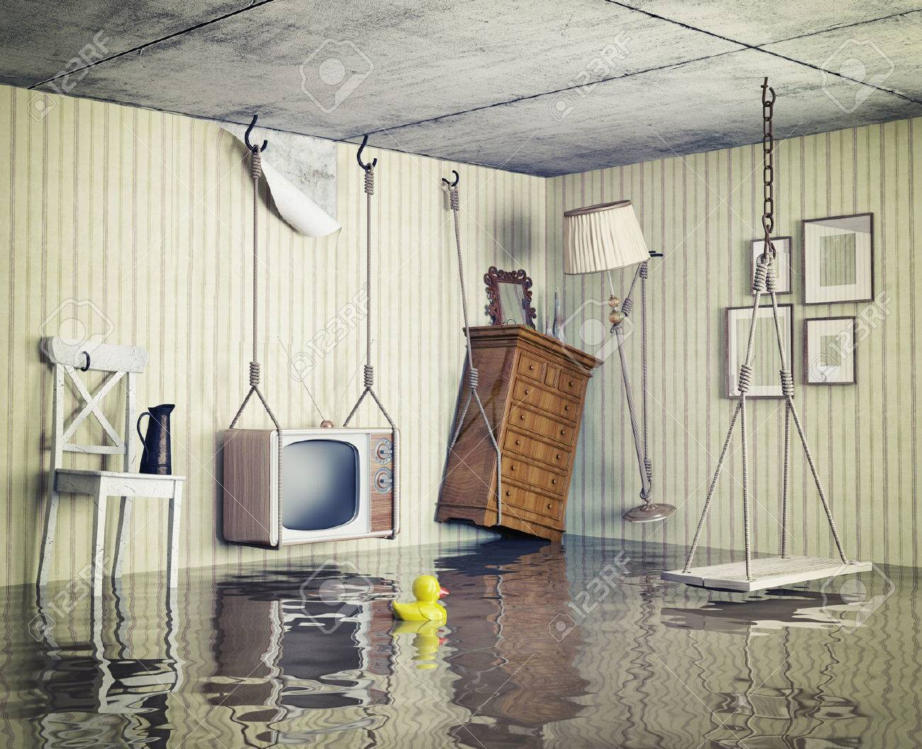 ordinary life in the flooded flat. 3d concept - 28469758
