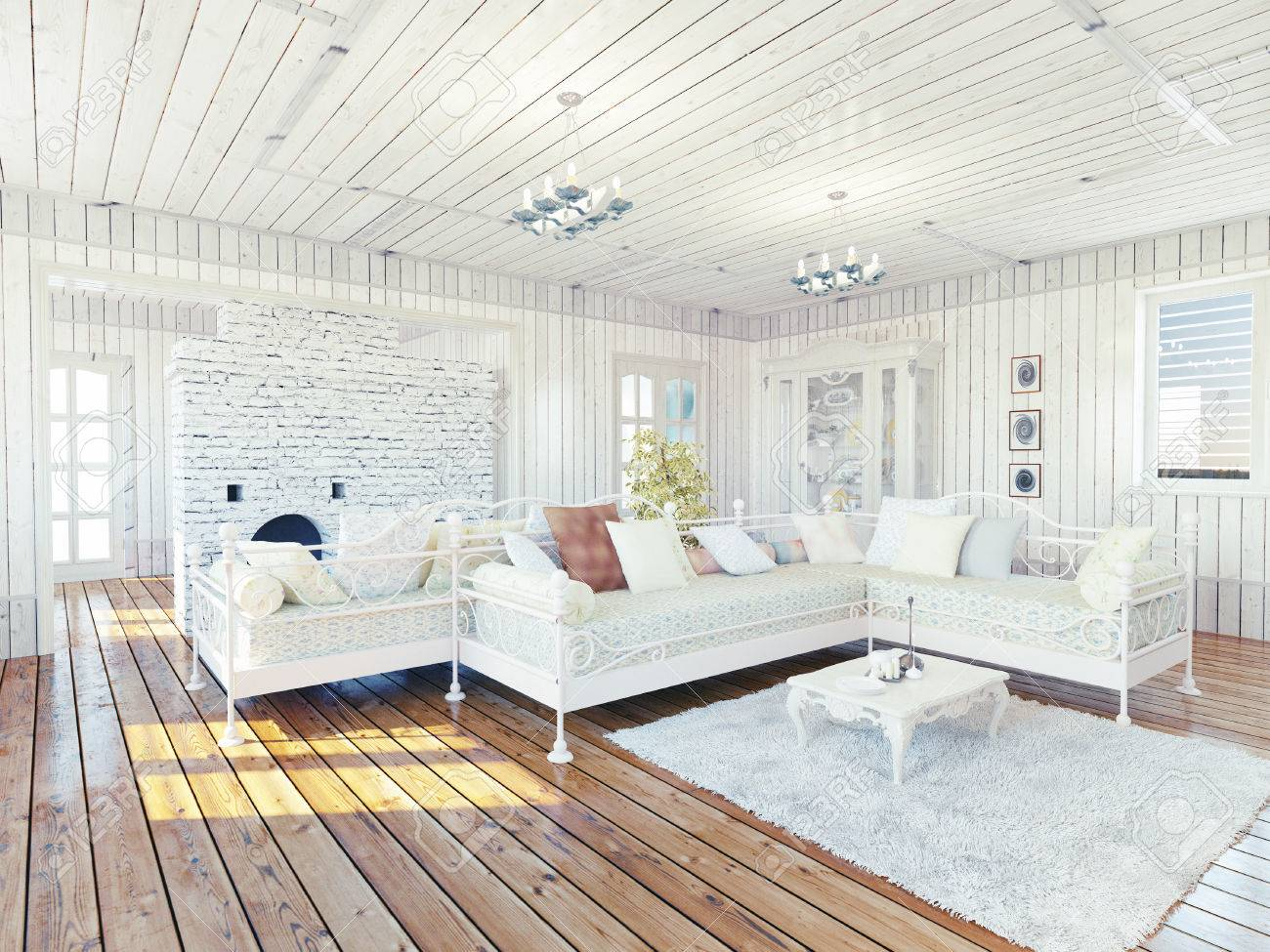 Provence Rural House Interior Design Concept Stock Photo