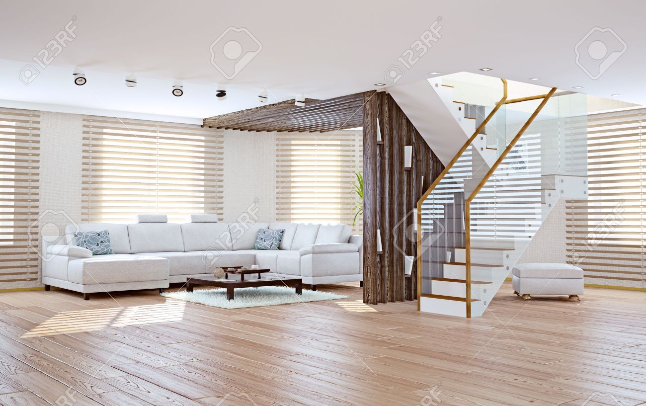 Modernt vardagsrum inredning. samtida designkoncept royalty fria ...