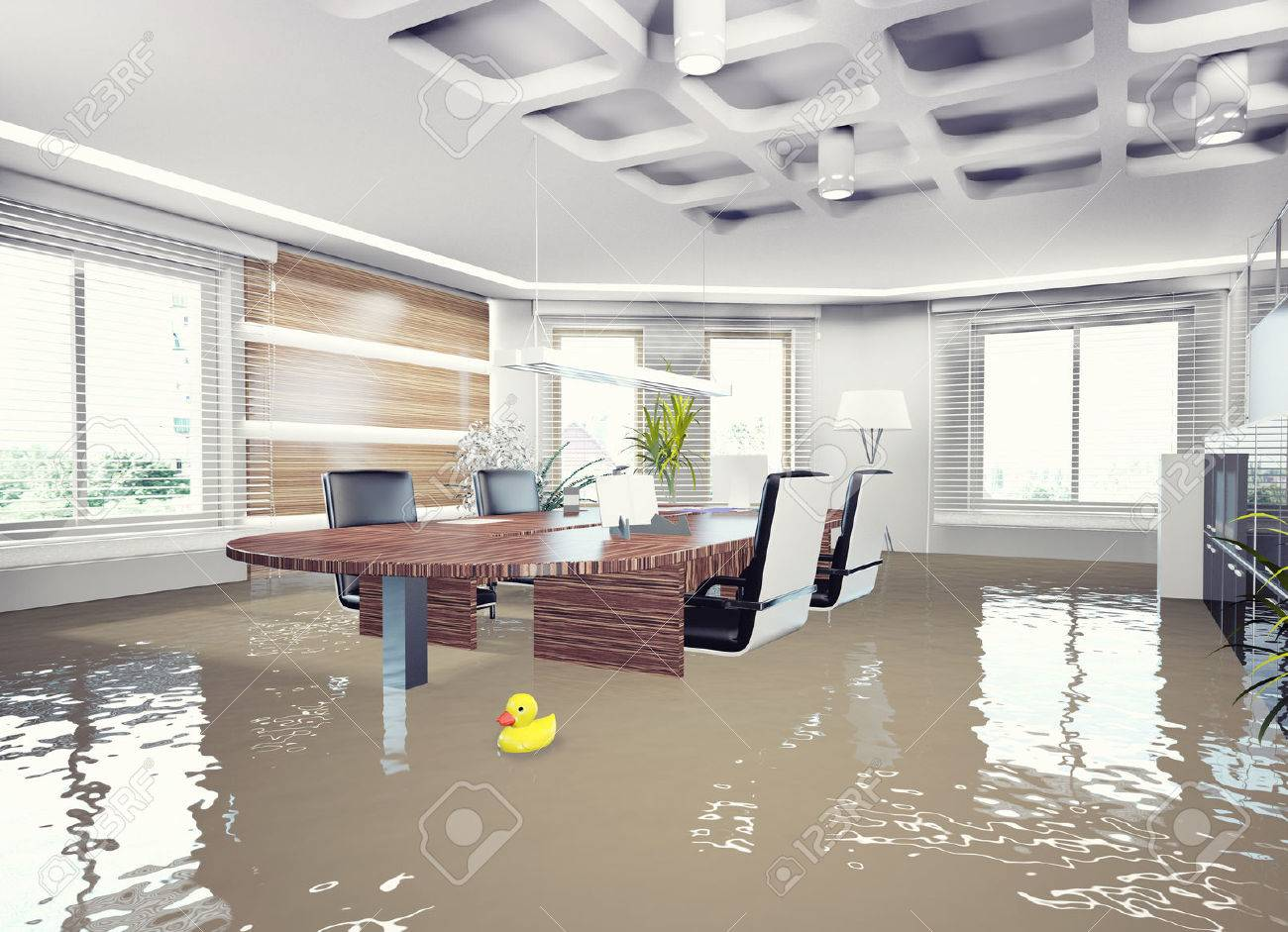 Berschwemmungen Büro-Interieur. 3D-Konzept Lizenzfreie Fotos, Bilder ...