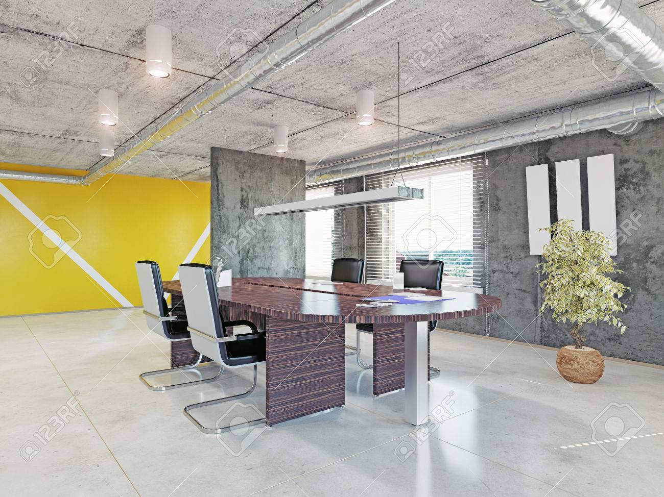 Intérieur de bureau moderne. conception 3d concept banque dimages