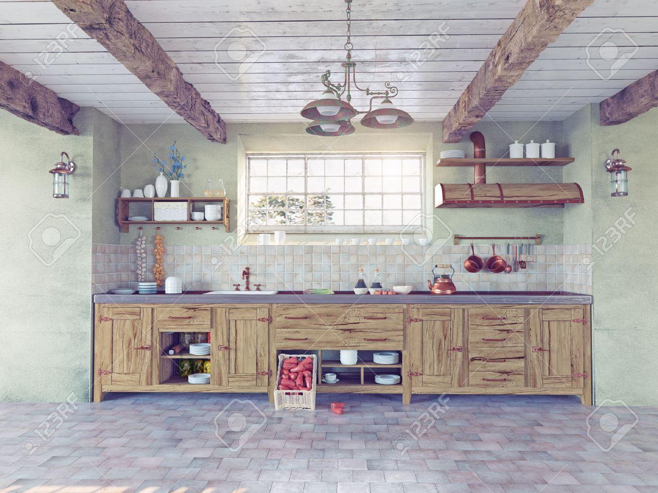 Bel Interieur De Cuisine A L Ancienne 3d Concept