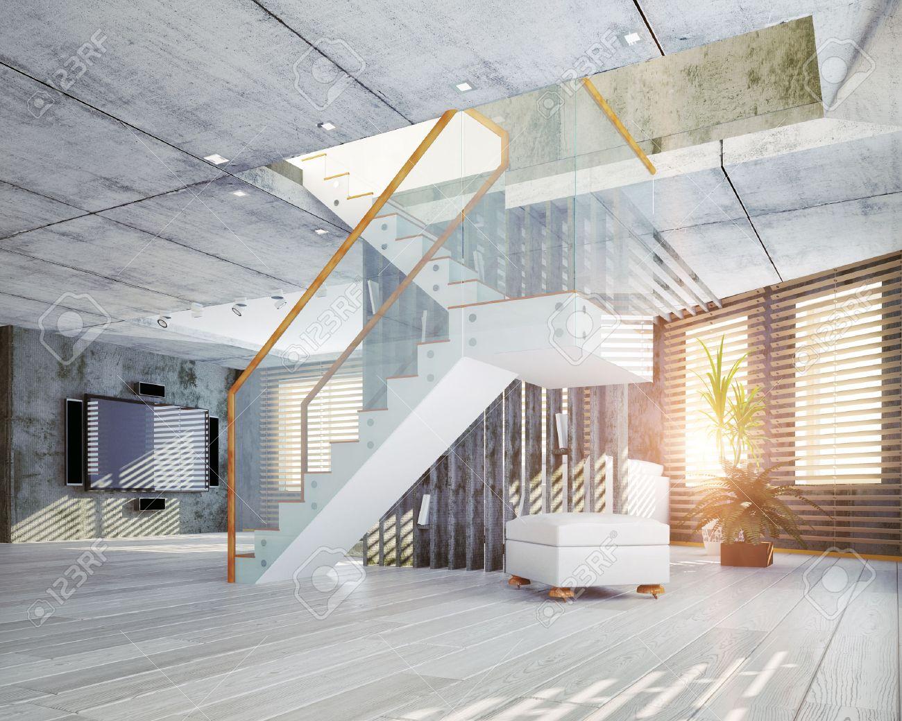Intérieur Loft Moderne. Design Contemporain 3d Concept Banque D ...